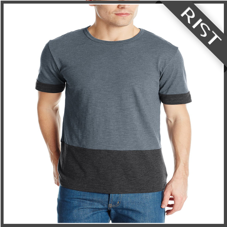 Two tone Joining together 100% cotton tshirt fashion mens T-shirt