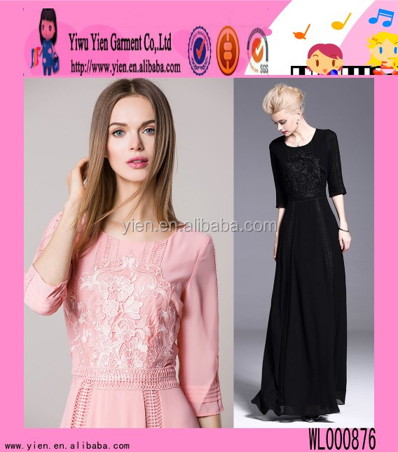 Europe market hot lace embroidered dress high quality xxl size women dresses party long wedding