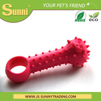 Soft rubber dog toy for squeaky bones