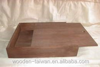 Plain wooden box with slider lid