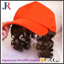 Custom 6 Panel Cotton ponytail baseball cap wigs