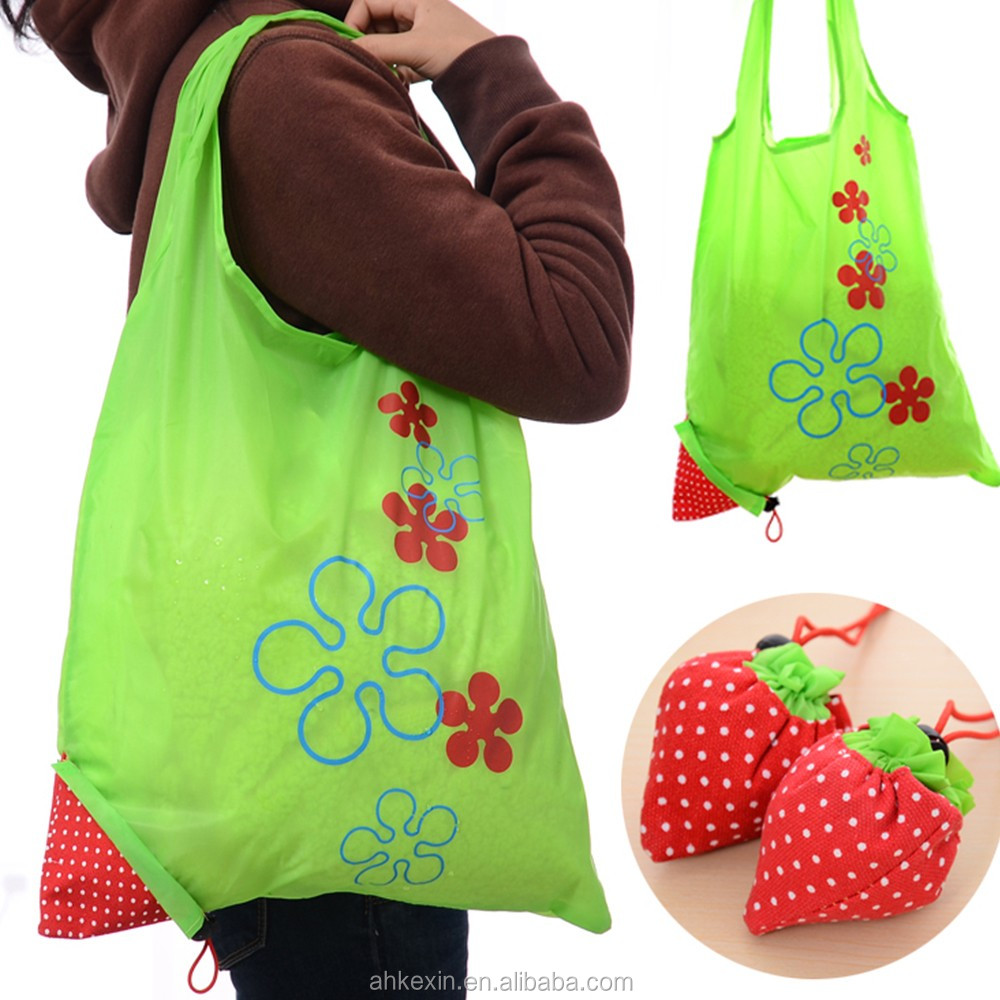 Cheap Strawberry waterproof polyester folding reusable shopping bag