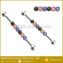 Mixed Colors Synthetic Fire Opal Unique Fake Barbell Body Jewelry Joyeria Piercing Industrial