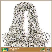 Women's fashion warm long shawl winter large white scarf with panda print 100% cashmere wool infinity scarves shawl wrap