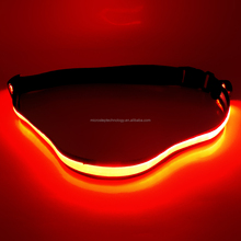 Flashing led elastic running waistband/rechargeable led flashing belt waistband