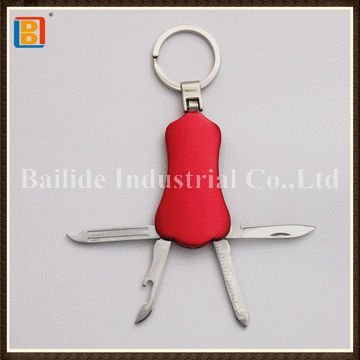 2017 Hot Promotional Item Red Lighter Outdoor Multi Knife Tools With Key Ring