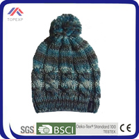 2014 winter custom crochet marled effect beanies hat