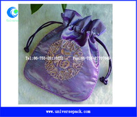 Purple embroidered satin silk jewelry pouch with drawstring