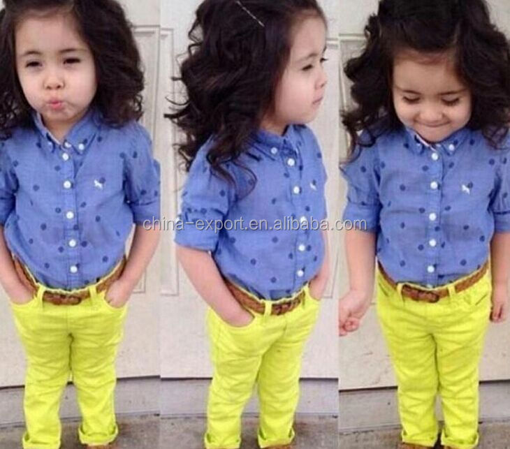 JPSKIRT1505410 2015 wholesale fashion summer hot sale new European candy color blouse+yellow trousers girls clothes set 2 piece