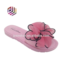 Lace bow fashion pink flat pvc ladies footwear pictures wholesale