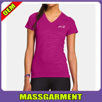 OEM customized women short sleeve v-neck comfort dri fit t shirt with high quality logo printing