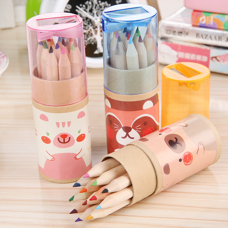12 Pcs / Pack Lovely Bear Cartoon Mini Colored Pencil New Ks Wooden Painting Colored Pencils