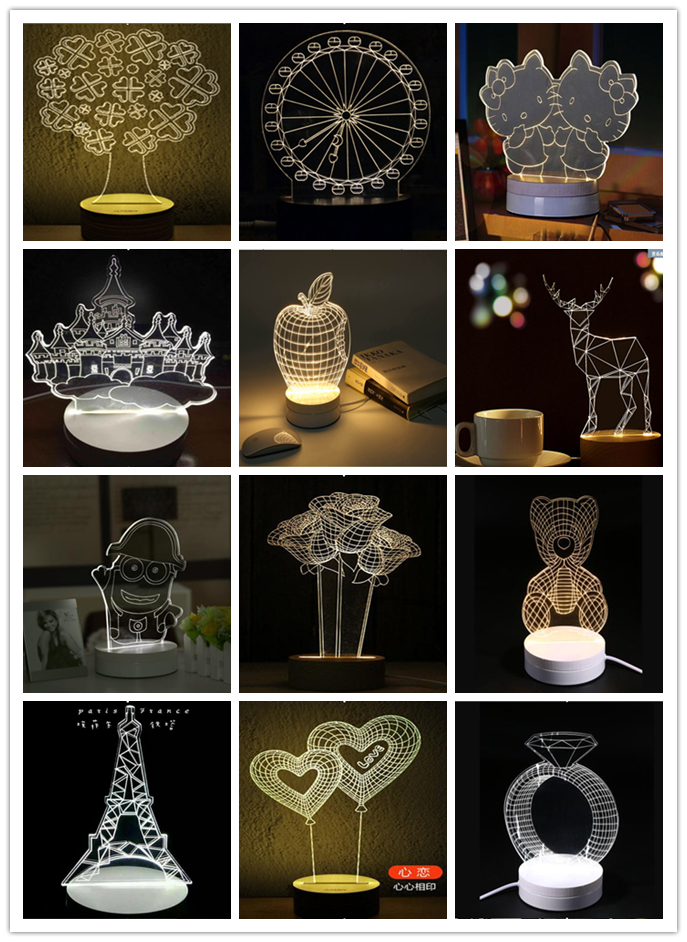 3D Acrylic Gifts Cartoon Reading Lamp LED Night Light Wholesale