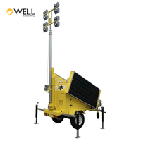 Strong Lighting Effect Energy Saving DC24V 200W 300W 400W Telescopic Solar Led Mobile Light Tower with Solar System