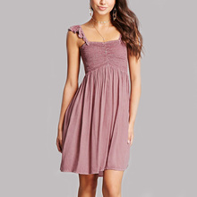 guangzhou clothing supplier latest korean style dress flounce layers straps women smock dress