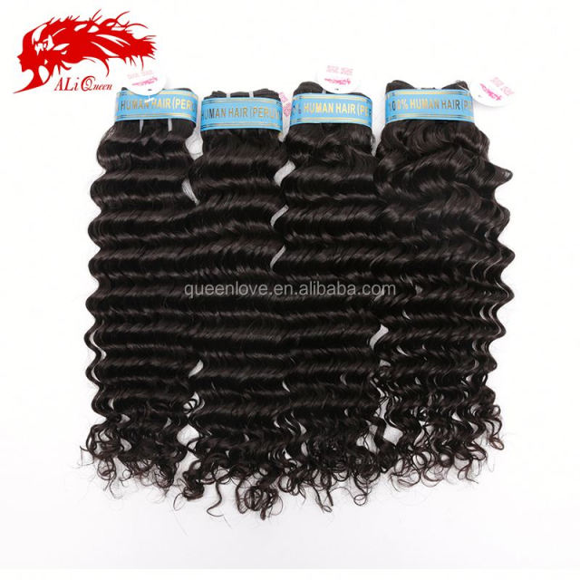 Wholesale Grade 6a unprocessed virgin peruvian hair deep curl wave, Natural color 100% human hair