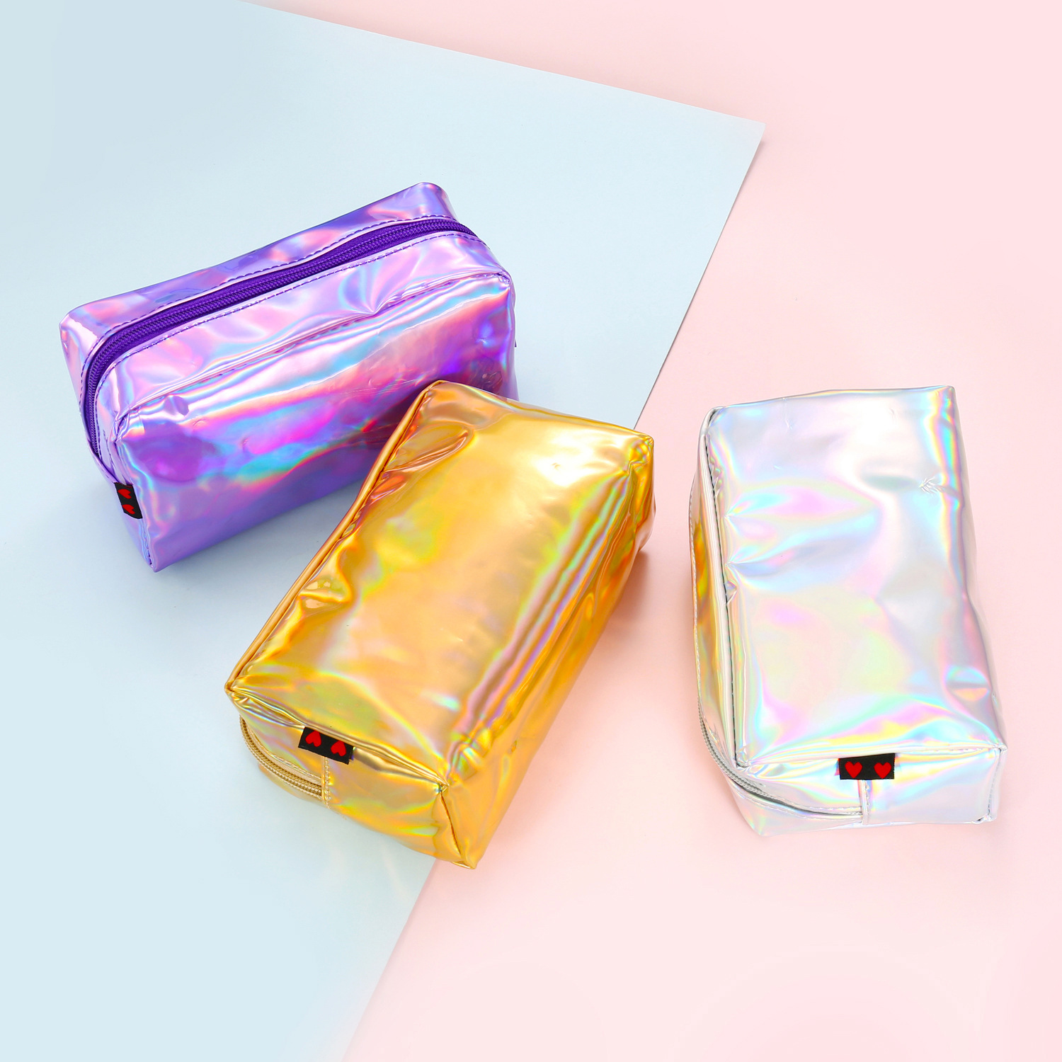 Korea handbag portable women travel zipper shiny PU cosmetic bag