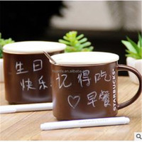 Creative surface 420ml ceramic chalk/message coffee/milk mug with lid, spoon and pen for promotion.