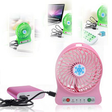 Mini Portable 18650 Li-ion Battery Rechargeable LED Fan air Cooler Operated Desk USB Charging 3 Mode Speed Regulation Fan