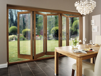 soundproof double glass thermal break aluminum lowes bi fold doors with screen