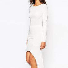 White mesh long sleeve short front long back sexy short skate club dress