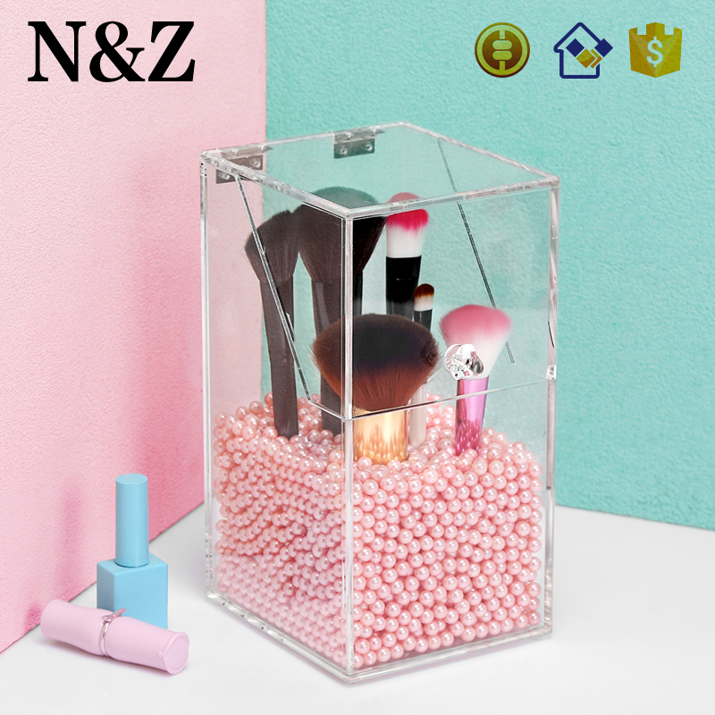 NZ C138-9 Wholesale Pearl Storage Box Clear Acrylic Brush Holder