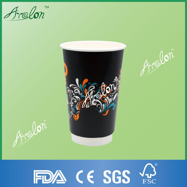 disposable double wall coffee-to-go paper cup with lids