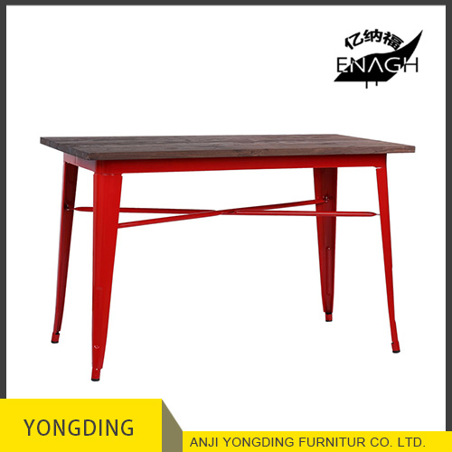Restaurant wood top metal dining tables metal bar table