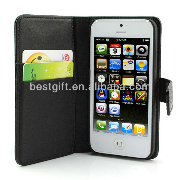 Black Credit Card Slot Leather Case For Iphone 5
