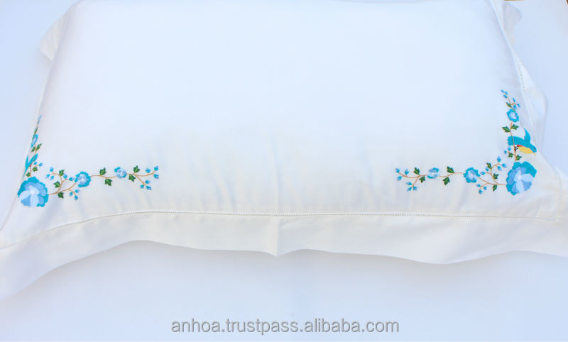 2014 design flower embroidered pillow case ,vietnam hand embroidery pillow cover