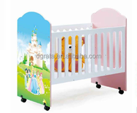 2016 popular fluctuting baby crib was made by E1 MDF board with barbie pattern for baby furnitur