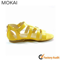 50s 12 Yellow Leather Roma Flat