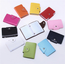 Fashion PU Candy Color 24 Card Slots Business Credit Card Wallet