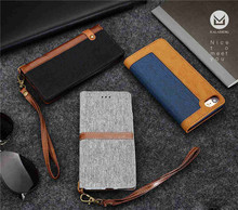 Slim Thin Flax Feel PU Leather Card Slots Wallet Flip Cover Stand Mobile Phone Case for iPhone 6 6S Plus 5.5