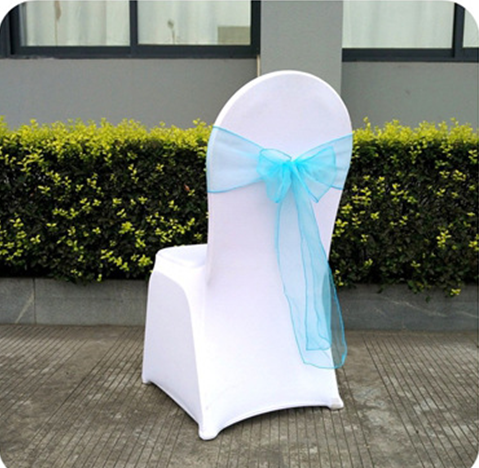 The Latest Wedding Decoration Cheap Blue Organza Chair Sash
