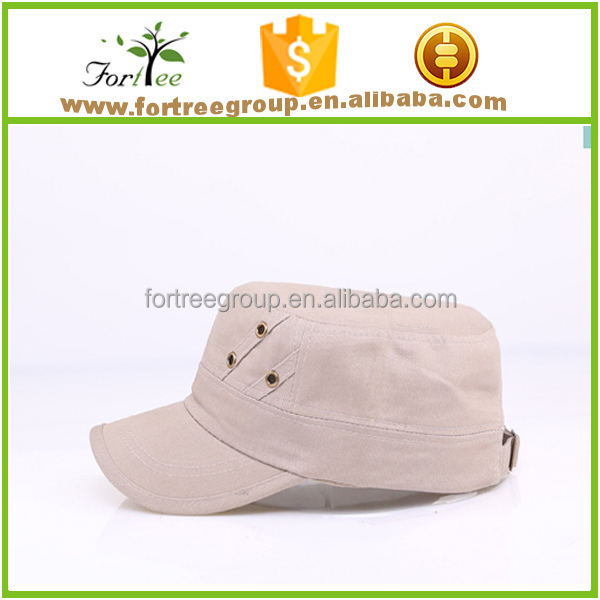 custom embroidered cotton military flat top hat