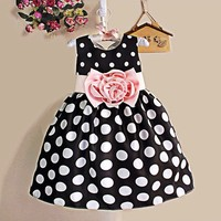 2015 Fashion Cute 3 Year Old Girl Kids Sleeveless Dot O-Neck A-Line Bubble Dress Sv019106
