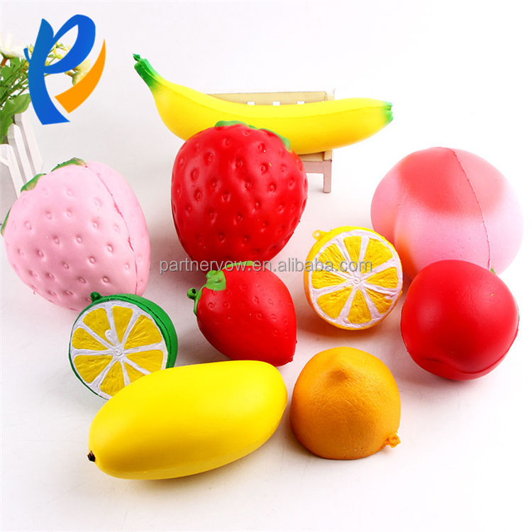 Cute kawaii Strawberry fruits set Squishy Slow Rising PU Stress Ball Squishy Toys