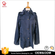 Zip up and Button Closure Light Weight Drawstring at Waist Long Parka Jacket for Women