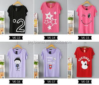 free shipping Latest design printed high quality plus size cotton women t shirts #OCW2401