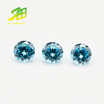 5mm Blue Round Brilliant Cut synthetic Cubic Zircon stone