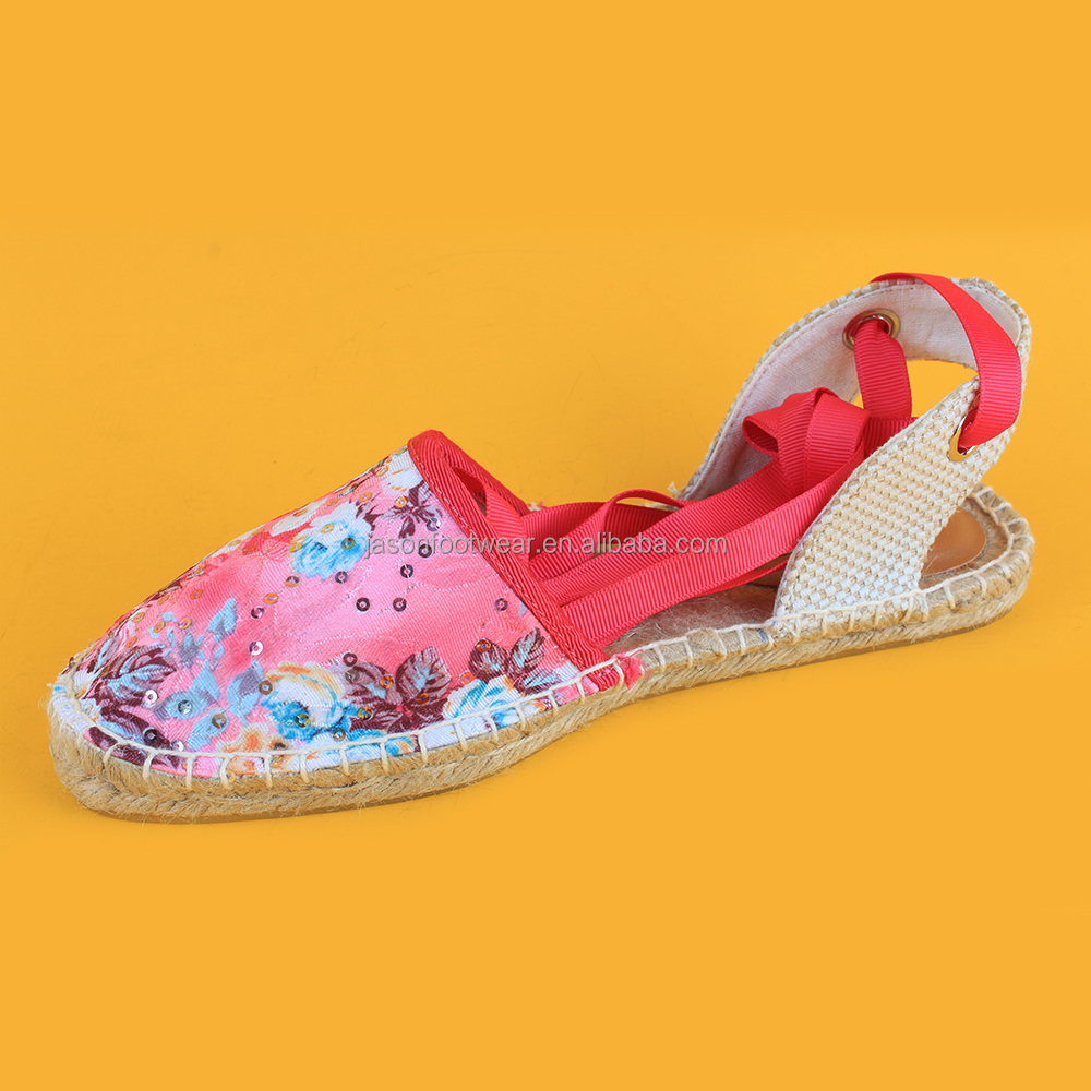 Fashon womens flower printing closed toe lace up espadrille sandals