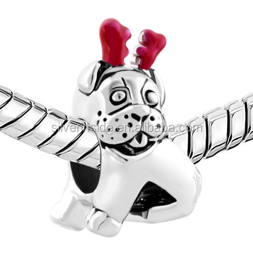 custom made charms wholesale Loose Beads Pug Puppy Dog Reindeer Horn Animal Charm For Bracelets European Bead Fit All Brands