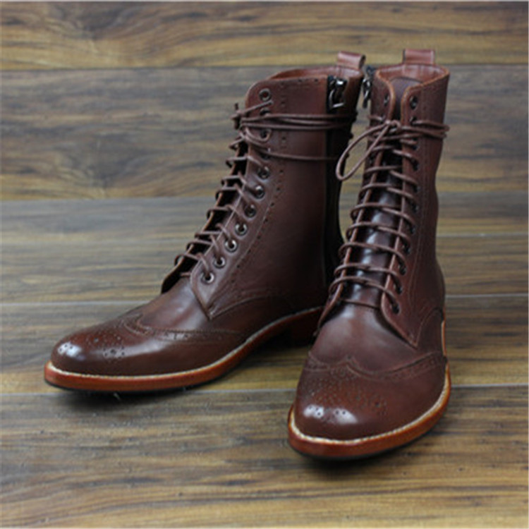 Hnadmade Genunie Leather Men Brogue <strong>Boots</strong> with Goodyear Welted
