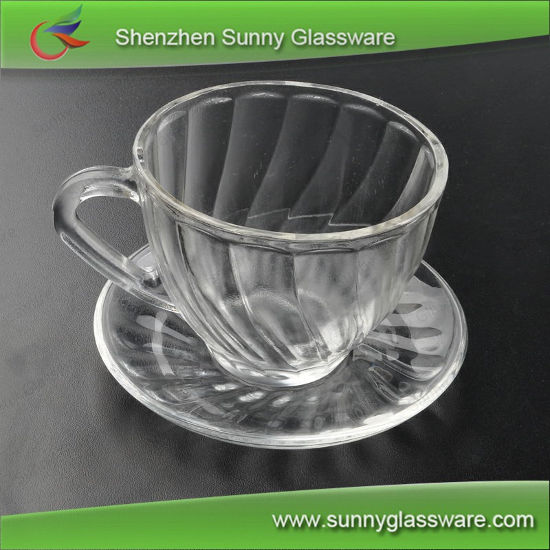 Funky Clear Handle Glass Coffee Tea Cup Set With Plate Or