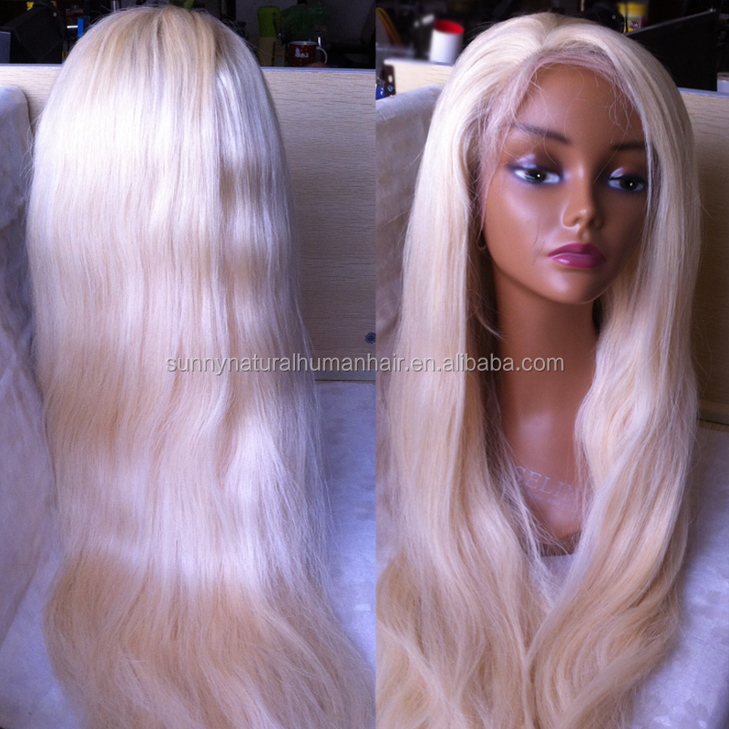 long blonde human hair wig #613 Brazilian hair silk top full lace wigs 200density silk base full lace wig for white women