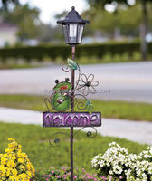 Frog Solar Lantern Welcome Stakes Lamp Post Garden Yard Lawn outdoor Decor