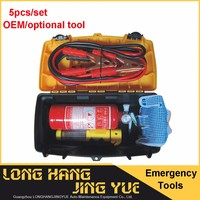 5pcs portable car accessory emergency kit auto safety kit with fire extinguisher