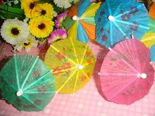 wooden cocktail parasol picks 100mm with 5 color designs