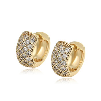 98537 Xuping new arrival fashion 14k solid gold plated jewelry zirconia earings for women